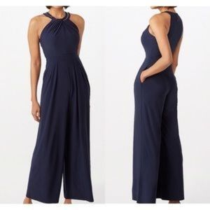Roz & Ali Navy jumpsuit with Gold Chain